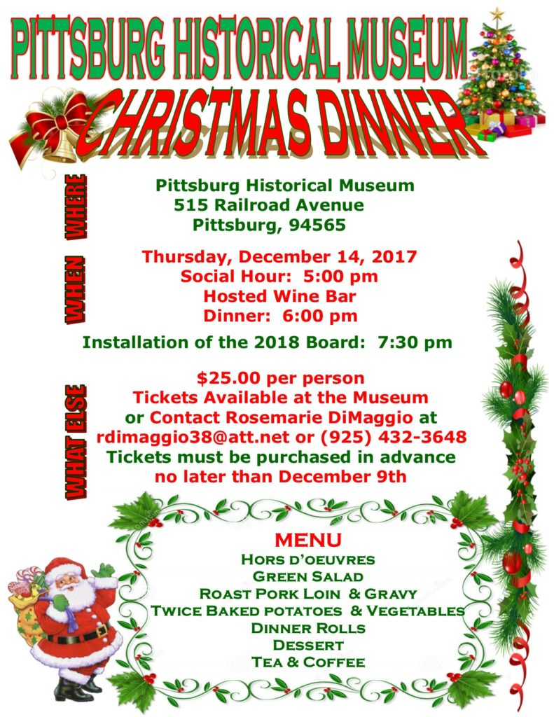 Christmas Dinner: Thursday, Dec 14, 2017. 5pm.