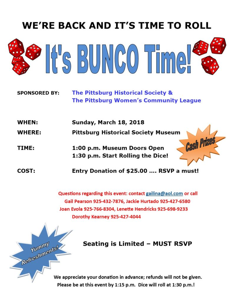 It's Bunco Time! Sunday, March 18, 2018